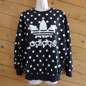 Adidas Black White Polka Dot Sweatshirt Trefoil M